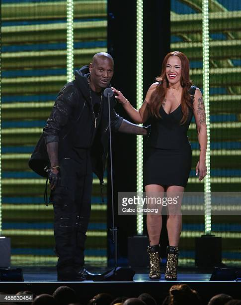 Recording artists Tyrese Gibson and Faith Evans speak onstage during the 2014 Soul Train Music Awards at the Orleans Areana on November 7 2014 in Las...