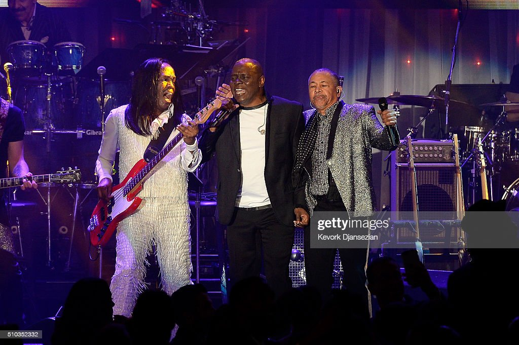 Recording artists Verdine White, Philip Bailey, and Ralph Johnson of music group Earth, Wind & Fire perform onstage during the 2016 Pre-GRAMMY Gala and Salute to Industry Icons honoring Irving Azoff at The Beverly Hilton Hotel on February 14, 2016 in Beverly Hills, California.
