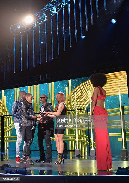 Recording artists Vincent 'Vinz' Dery and Nicola 'Nico' Sereba of Nico Vinz accept the Best New Artist award from recording artists Tyrese Gibson and...