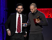 Recording artists Visitante and Residente Calle 13 of music group Calle 13 accept the award for Best Alternative Song onstage during the 15th annual...