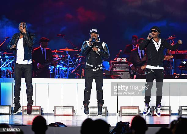 Recording artists Woody Rock Sisqo and Nokio the NTity of Dru Hill perform onstage during the 2016 Soul Train Music Awards on November 6 2016 in Las...