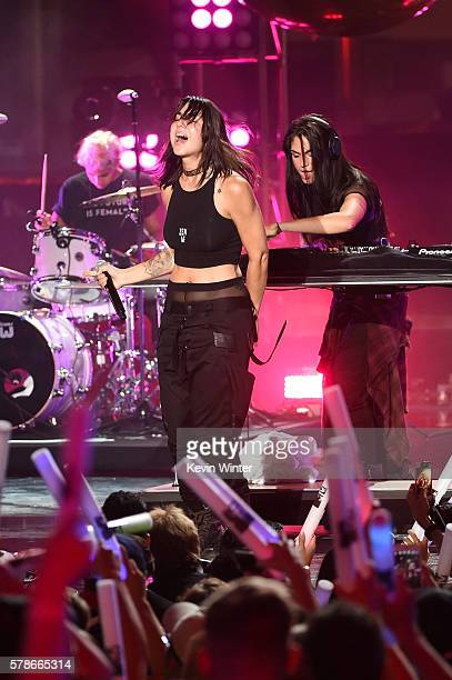 Recording artists Yasmine Yousaf and Jahan Yousaf of musical group Krewella perform onstage at the MTV Fandom Awards San Diego at PETCO Park on July...