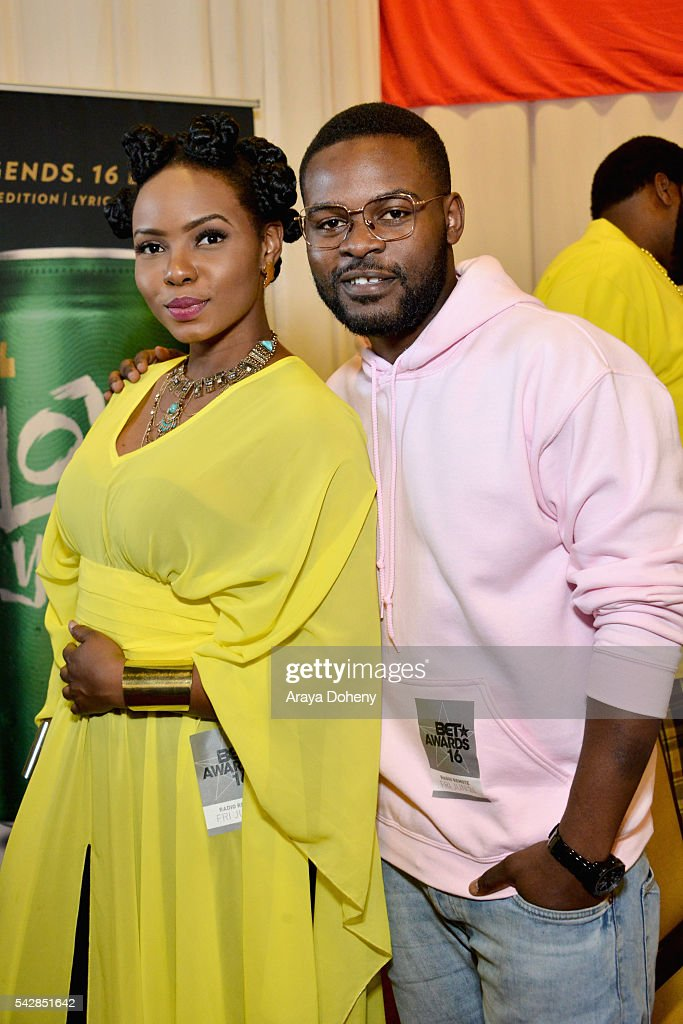 Recording artists Yemi Alade (L) and Falz attend the radio broadcast center during the 2016 BET Experience at the JW Marriott Los Angeles L.A. Live on June 24, 2016 in Los Angeles, California.