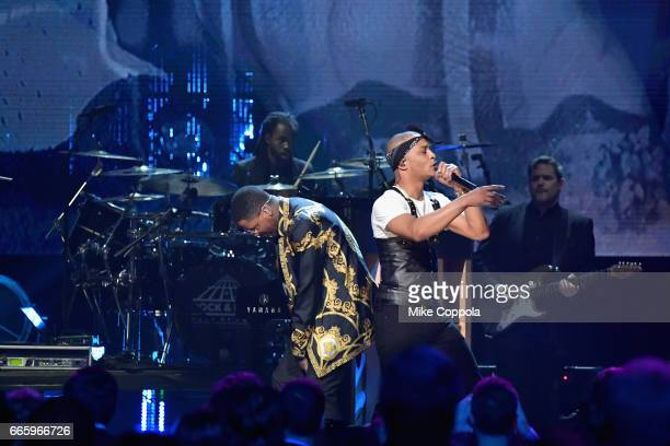 Recording artists YG and TI perform onstage at the 32nd Annual Rock Roll Hall Of Fame Induction Ceremony at Barclays Center on April 7 2017 in New...