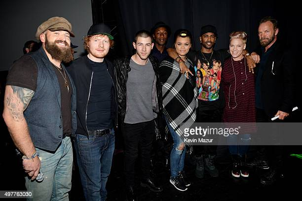 Recording artists Zac Brown Ed Sheeran Nick Jonas Aloe Blacc Andra Day Big Sean Pink and Sting attend AE Networks 'Shining A Light' concert at The...