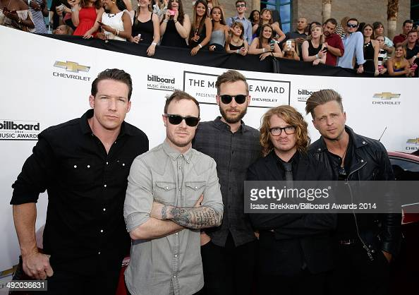 Recording artists Zach Filkins Eddie Fisher Brent Kutzle Drew Brown and Ryan Tedder of OneRepublic attend the 2014 Billboard Music Awards at the MGM...