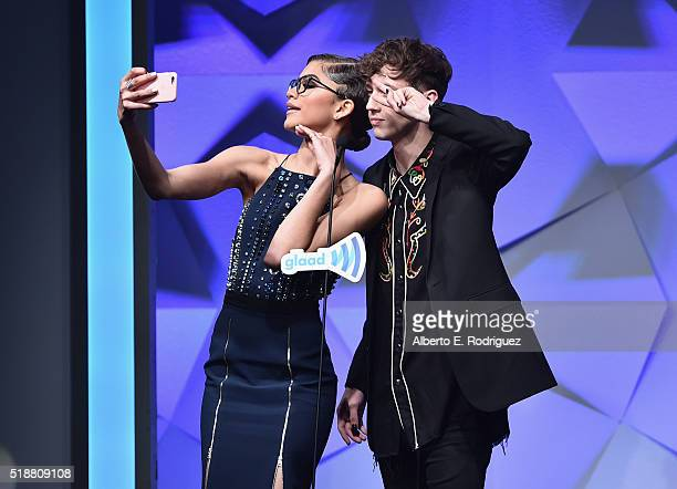 Recording artists Zendaya and Troye Sivan speak onstage onstage during the 27th Annual GLAAD Media Awards at the Beverly Hilton Hotel on April 2 2016...