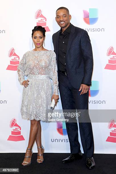 Recording artists/actors Jada Pinkett Smith and Will Smith pose in the press room during the 16th Latin GRAMMY Awards at the MGM Grand Garden Arena...