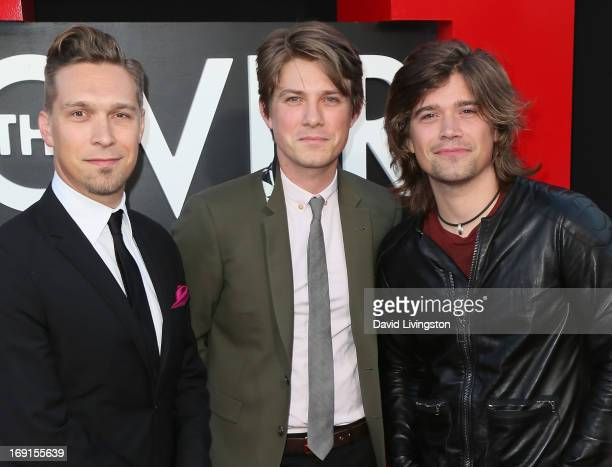 Recording artists/brothers Issac Hanson Taylor Hanson and Zac Hanson of Hanson attend the premiere of Warner Bros Pictures' 'Hangover Part III' at...