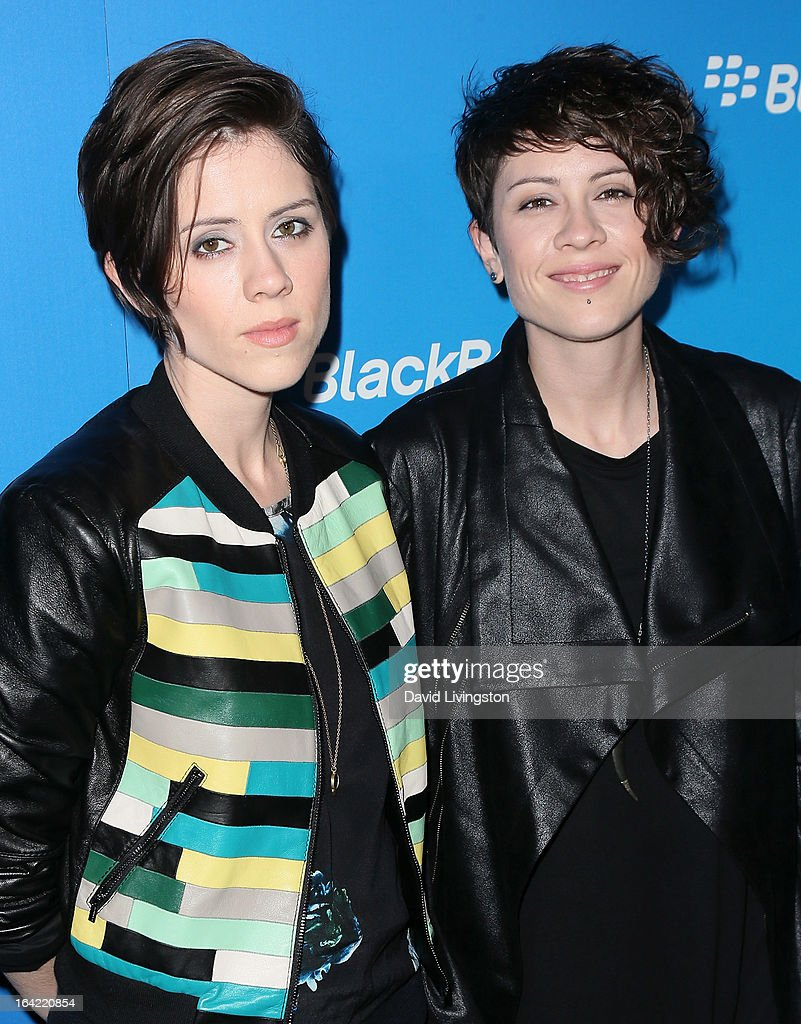 Recording artists/sisters <a gi-track='captionPersonalityLinkClicked' href=/galleries/search?phrase=Sara+Quin&family=editorial&specificpeople=2303840 ng-click='$event.stopPropagation()'>Sara Quin</a> (L) and <a gi-track='captionPersonalityLinkClicked' href=/galleries/search?phrase=Tegan+Quin&family=editorial&specificpeople=2351694 ng-click='$event.stopPropagation()'>Tegan Quin</a> of Tegan and Sara attend the BlackBerry Z10 Smartphone launch party at Cecconi's Restaurant on March 20, 2013 in Los Angeles, California.