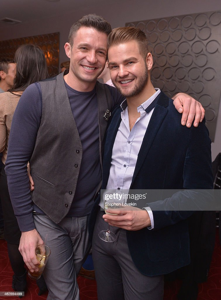 Recording artist/TV personality Jason Dottley and celebrity eyebrow specialist Joey Healy attend 'NEWSical The Musical' VIP party celebrating the...