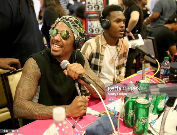 Recording artistTV personality Nick Cannon attends day one of radio broadcast center sponsored by Sprite during the 2017 BET Awards at Microsoft...