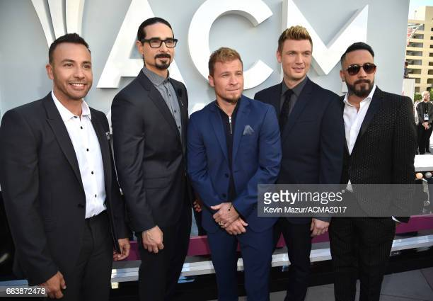 Recording artsits Howie Dorough Kevin Richardson Brian Littrell Nick Carter and AJ McLean of music group Backstreet Boys attend the 52nd Academy Of...
