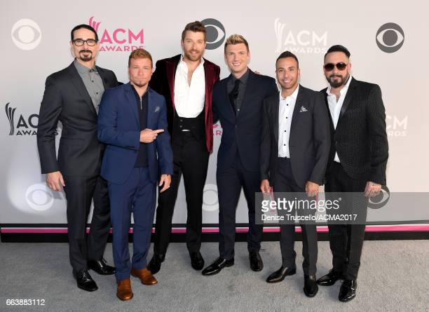 Recording artsits Kevin Richardson Brian Littrell Nick Carter Howie Dorough and AJ McLean of music group Backstreet Boys and Brett Eldredge attend...