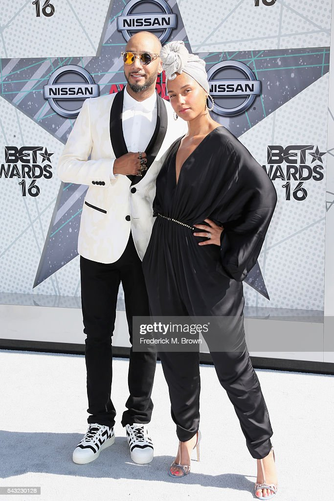 Recording artsts Swizz Beatz and Alicia Keys attend the 2016 BET Awards at the Microsoft Theater on June 26, 2016 in Los Angeles, California.