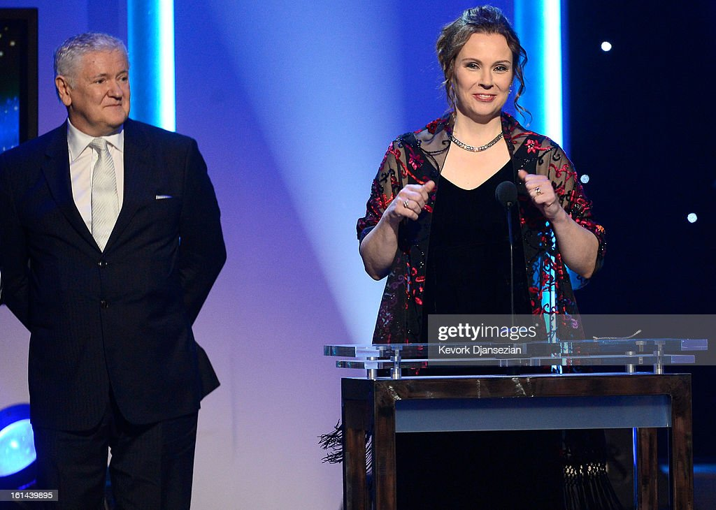 Recording engineer Darcy Proper and Producer Jim Anderson winners of Best Surround Album for 'Modern Cool' onstage at the The 55th Annual GRAMMY Awards at Staples Center on February 10, 2013 in Los Angeles, California.