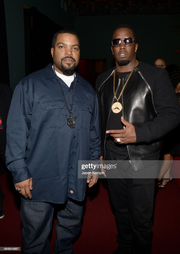 Recording producer Ice Cube (L) and Rapper <a gi-track='captionPersonalityLinkClicked' href=/galleries/search?phrase=Sean+Combs&family=editorial&specificpeople=178993 ng-click='$event.stopPropagation()'>Sean Combs</a> aka Diddy attend the Beats Music Launch Party at Belasco Theatre on January 24, 2014 in Los Angeles, California.
