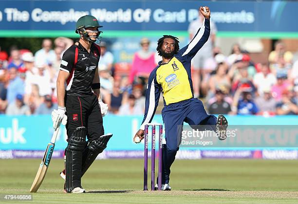 Recordo Goron of Birmingham Bears bowls during the Natwest T20 Blast match between Leicestershire Foxes and Birmingham Bears at Grace Road on July 4...