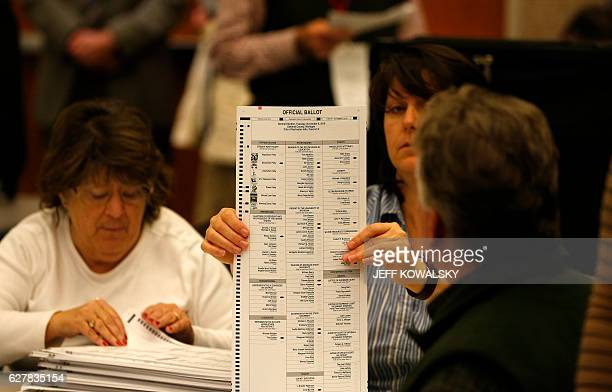A recount of ballots cast in Oakland County Michigan from the 2016 US presidential race takes place at the Oakland County Schools building on...