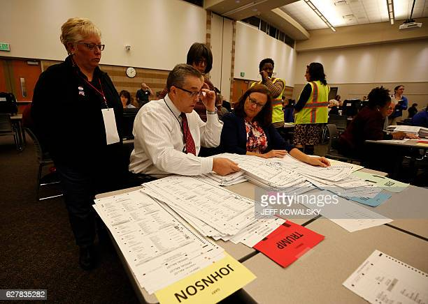 A recount of ballots cast in Oakland County Michigan from the 2016 US presidential race is seen at the Oakland County Schools building on December 5...
