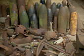 Recovered shells and munitions sit on display at 'Sanctuary Wood' on August 3 2014 in Ypres Belgium Monday 4th August marks the 100th anniversary of...