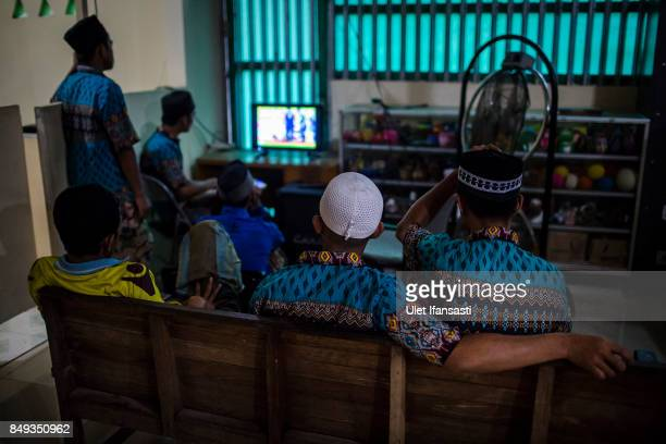 Recovering drug addicts watching television at the traditional rehabilitation centre Nurul Ichsan Al Islami on September 15 2017 in Purbalingga...