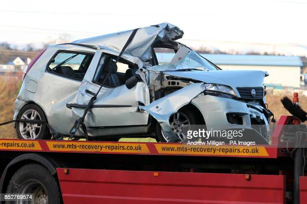 Recovery of the vehicles involved in the accident where a lorry driver has died as his HGV toppled on to a number of cars on the A801 in West Lothian...