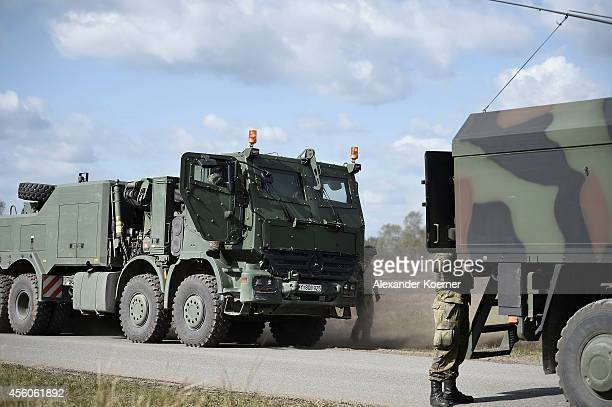 A recovery vehicle `Bison` of the Bundeswehr the German armed forces is pictured during the annual military exercises at the Bundeswehr training...