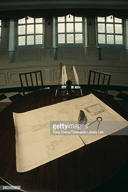 A recreation of Nelson's cabin on the HMS Victory an 18th century ship of the Royal Navy now in a dry dock in Portsmouth UK circa 1970 She served as...