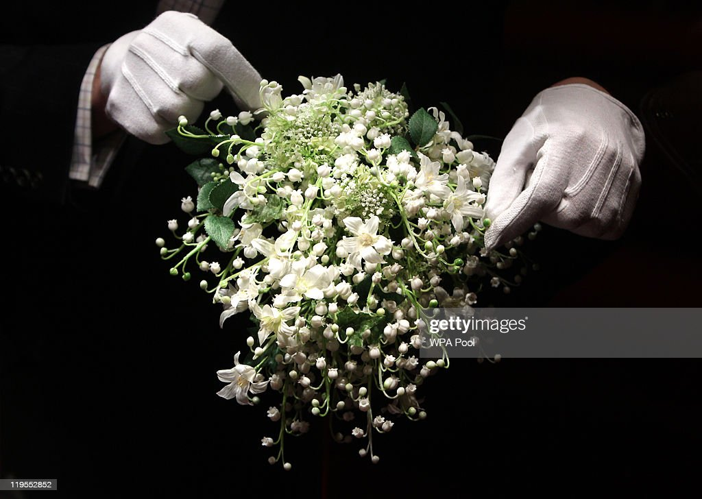 A recreation of the Duchess of Cambridge's wedding bouquet is photographed before it goes on display at Buckingham Palace during the annual summer opening on July 20, 2011 in London, England. The bouquet which was made up of lily of the vallery, hyacinths, ivy and myrtle, (which was grown from the bouquet of Queen Victoria) was featured in her wedding day on April 29 to Prince William, Duke of Cambridge.