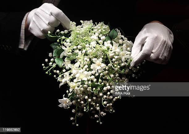A recreation of the Duchess of Cambridge's wedding bouquet is photographed before it goes on display at Buckingham Palace during the annual summer...