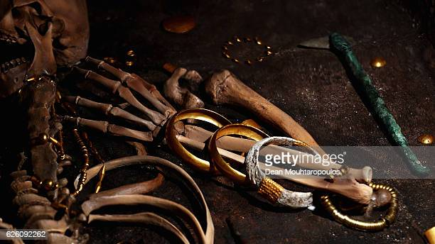 A recreation of the skeleton discovered in Grave No 43 in the Varna Chalcolithic Necropolis together with the numerous gold artefacts dating to the...