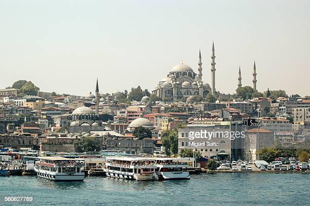 Recreational boat in Golden Horn, Eminonu