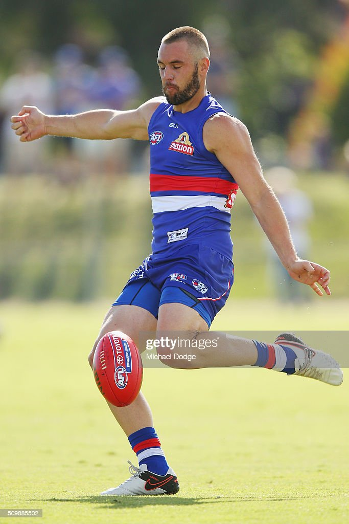 Recruit from the Hawks, Matt Suckling, kicks the ball during the Western Bulldogs AFL intra-club match at Whitten Oval on February 13, 2016 in Melbourne, Australia.