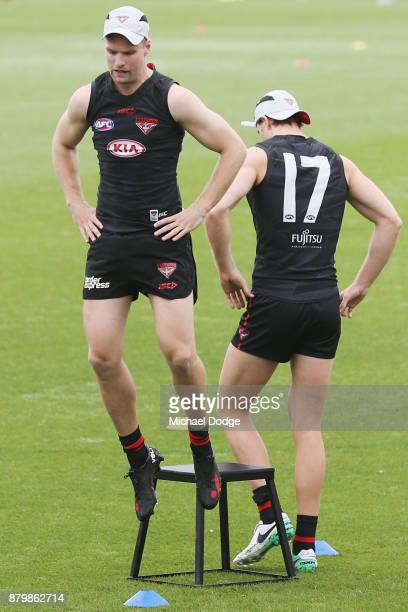 Recruit Jake Stringer springs off the platform during an Essendon Bombers AFL training session at the Essendon Bombers Football Club on November 27...