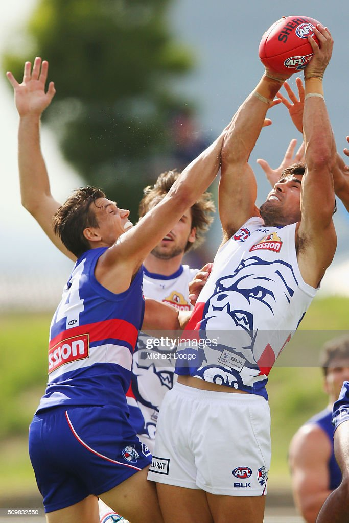 Recruit Marcus Adams marks the ball during the Western Bulldogs AFL intra-club match at Whitten Oval on February 13, 2016 in Melbourne, Australia.