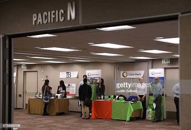 Recruiters wait to meet with job seekers during a HireLive career fair on June 4 2015 in San Francisco California According to a report by payroll...