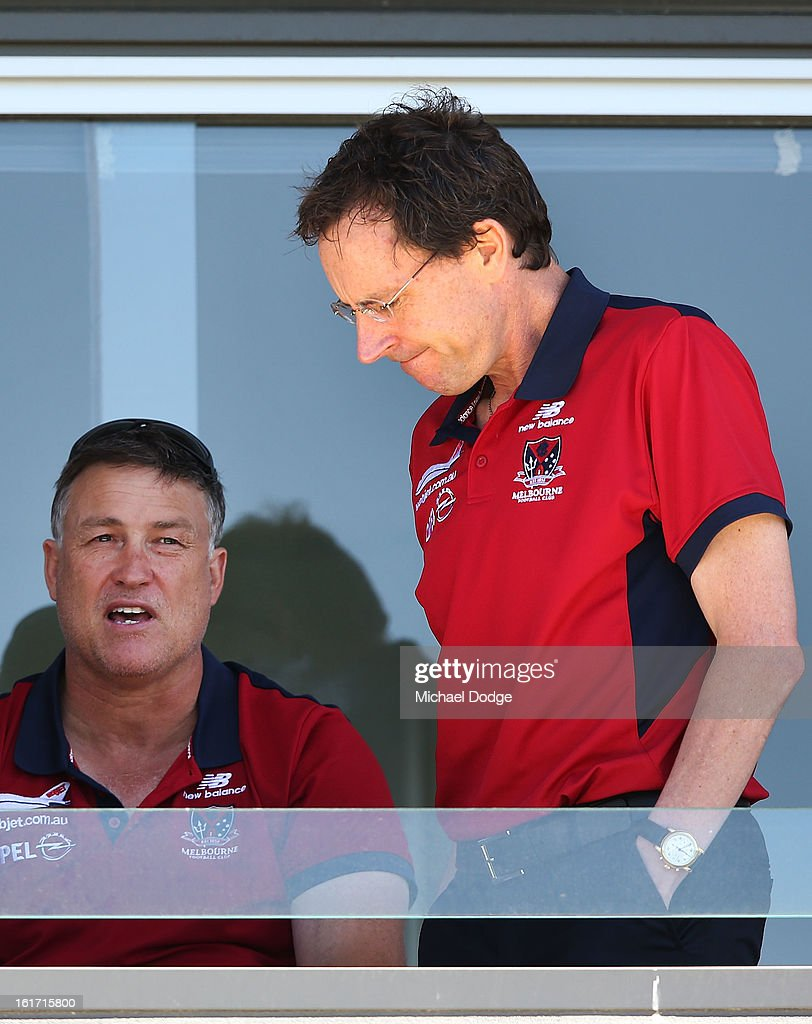 Recruiting manager Todd Viney (L) and CEO Cameron Schwab talk together during a Melbourne Demons intra-club match session session at Casey Fields on February 15, 2013 in Melbourne, Australia.