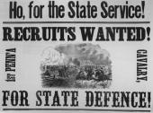 Recruiting poster from the American Civil War Pennsylvania Philadelphia USA circa 1861 The poster reads 'Ho for the state service Recruits wanted 1st...