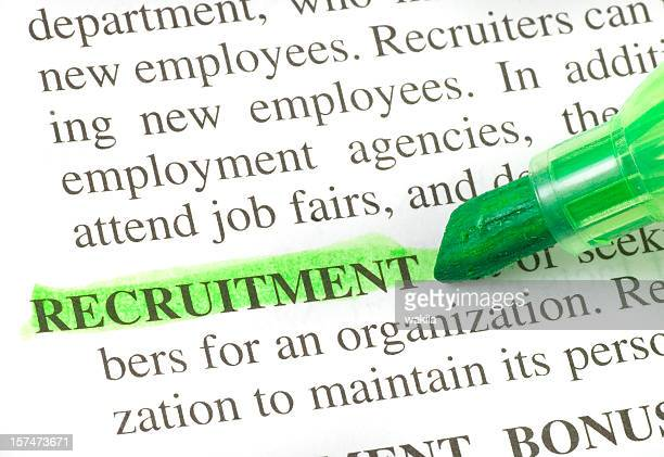recruitment definition highligted in dictionary