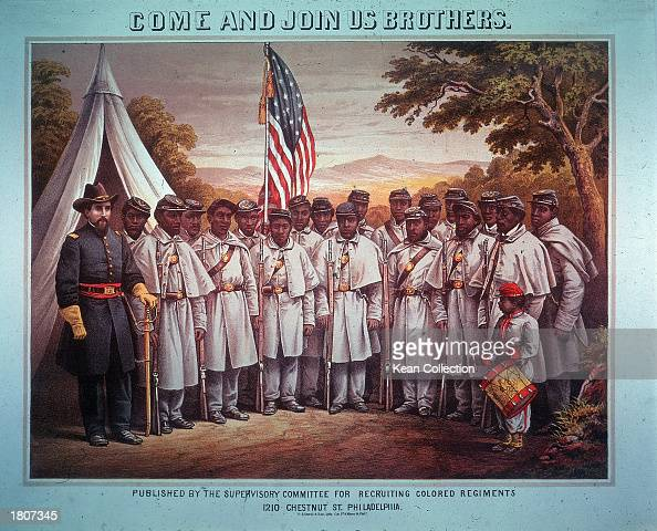 Recruitment illustration of a Black Union regiment of soldiers and their White commanding officer labeled 'Come and join us brothers' 1860s
