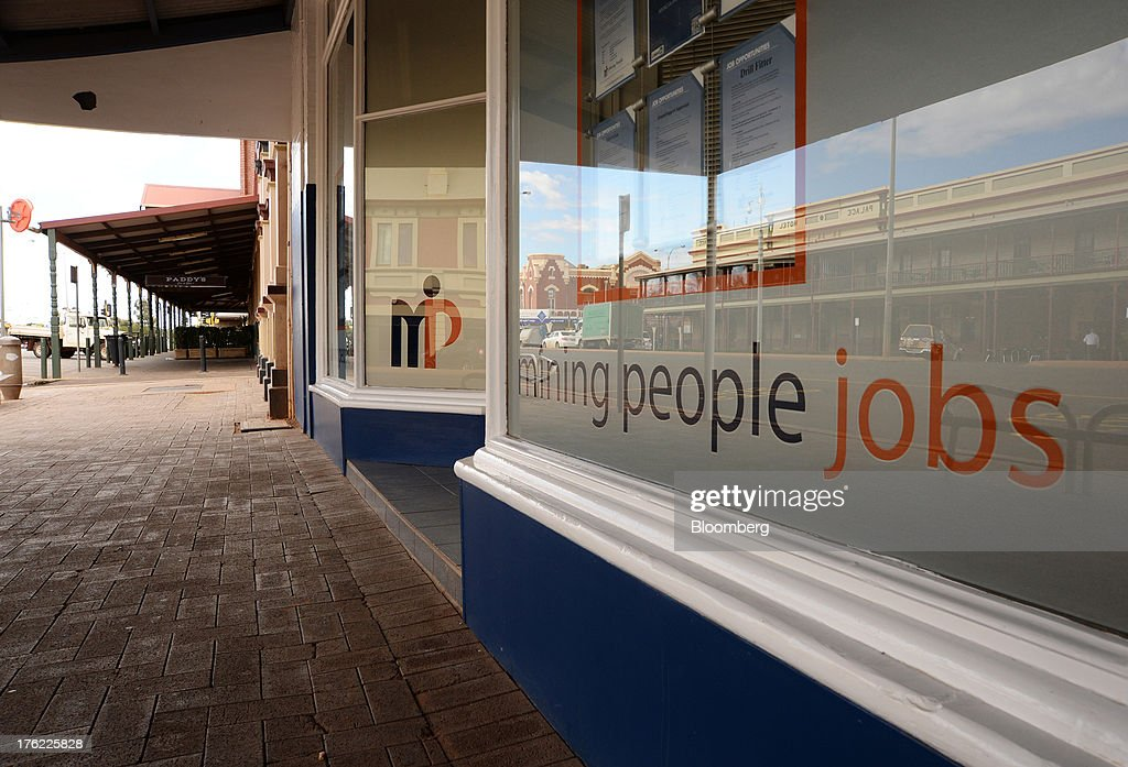 A recruitment office specializing in mining jobs stands in the mining town of Kalgoorlie, Australia, on Thursday, Aug. 8, 2013. Western Australia, the nation's largest state by area with 2.6 million square kilometers (1 million square miles) of land, earned A$97 billion from minerals and energy sales in 2012, down from A$108 billion in 2011, according to government figures. Photographer: Carla Gottgens/Bloomberg via Getty Images