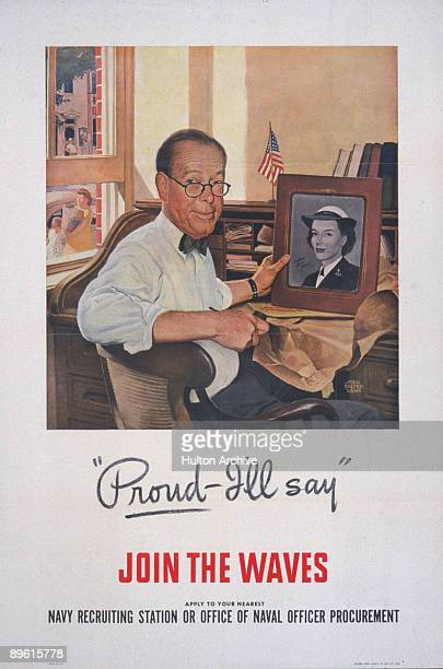 Recruitment poster for the US Navy WAVES features a father seated at a desk a framed picture of his uniformed daughter in his hand over the quote...
