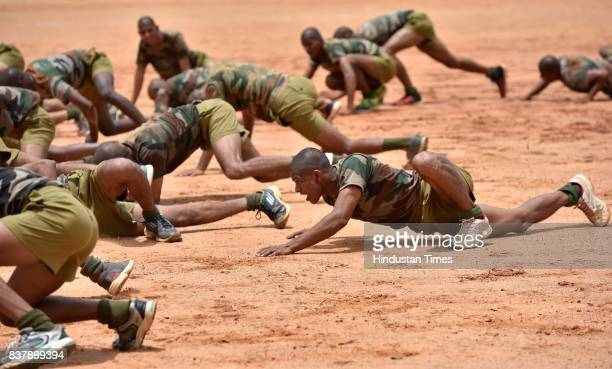 Recruits going through rigorous training session at Parachute Regiment Training Centre on August 18 2017 in Bengaluru India Members of the regiment...