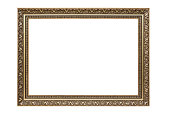 Rectangle decorative picture frame isolated on white background with clipping path