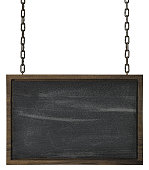 Rectangular blackboard wooden sign with wooden edges hanging by old chains, isolated on a white background with clipping path included.