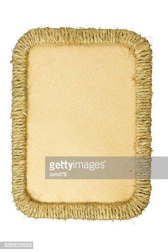 Rectangular photo frame braided jute yarn. : Stock Photo