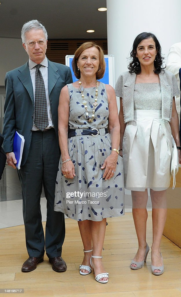 Rector of Bocconi University Guido Tabellini, <a gi-track='captionPersonalityLinkClicked' href=/galleries/search?phrase=Elsa+Fornero&family=editorial&specificpeople=8642721 ng-click='$event.stopPropagation()'>Elsa Fornero</a> Minister of Welfare and Eliana La Ferrara attend at Social Constraints to development Lecito Inauguralis of Eliana La Ferrara Chair in Development Economics at Bocconi University on July 9, 2012 in Milan, Italy.<a gi-track='captionPersonalityLinkClicked' href=/galleries/search?phrase=Elsa+Fornero&family=editorial&specificpeople=8642721 ng-click='$event.stopPropagation()'>Elsa Fornero</a> Minister of Labour, Social Policies and Equal Opportunities in the technical government of Mario Monti by 16 November 2011.
