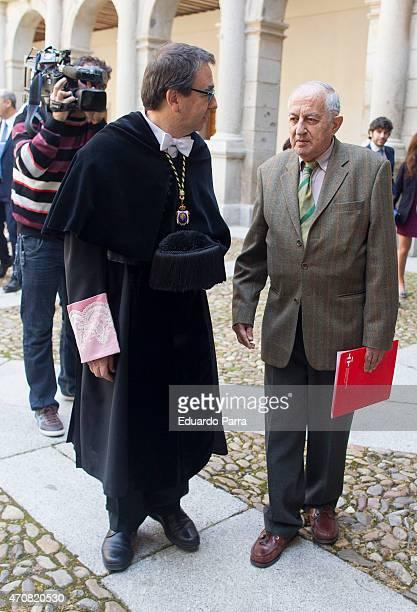 Rector of the Alcala de Henares University Fernando Galvan and spanish writer Juan Goytisolo winner of the Cervantes prize pose for photographers at...