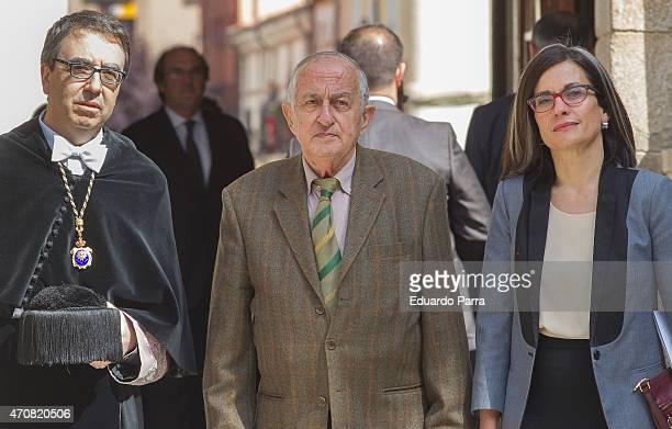 Rector of the Alcala de Henares University Fernando Galvan spanish writer Juan Goytisolo winner of the Cervantes prize and Teresa Lizaranzu pose for...